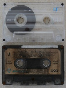 Audio tape damaged in fire before and after repair