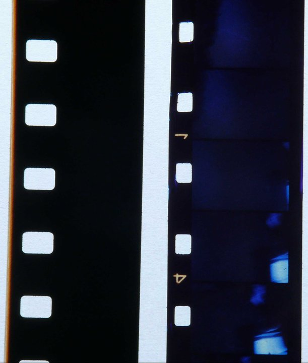 Super and regular 8 film side by side