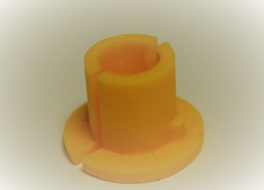 Spindle adapter for Super 8 reels on Regular machines printed in 3d with yellow ABS plastic